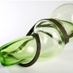 """Sargasso Green, blown glass and solid steel rod, 24""""L"""